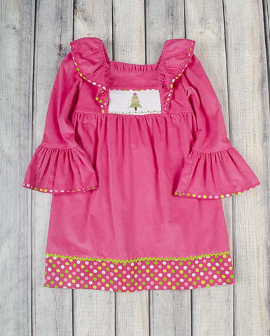 Smocked Festive Tree Peasant Dress - Girls - Stellybelly - 1