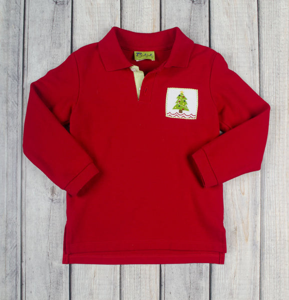 Red Christmas Tree Polo