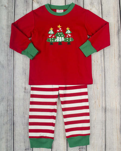 Red Christmas Tree App Girls Knit Loungewear - Girls - Stellybelly - 1