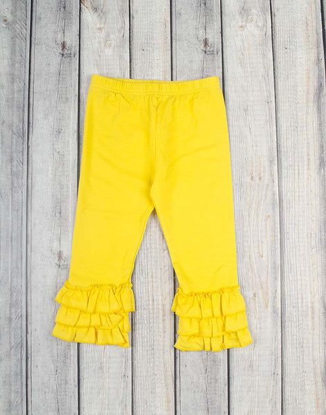 Yellow Knit Ruffle Capri - Girls - Stellybelly