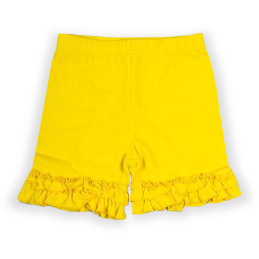 Yellow Ruffle Knit Shorts