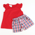 Red Top & Americana Plaid Ruffle Shorts Set