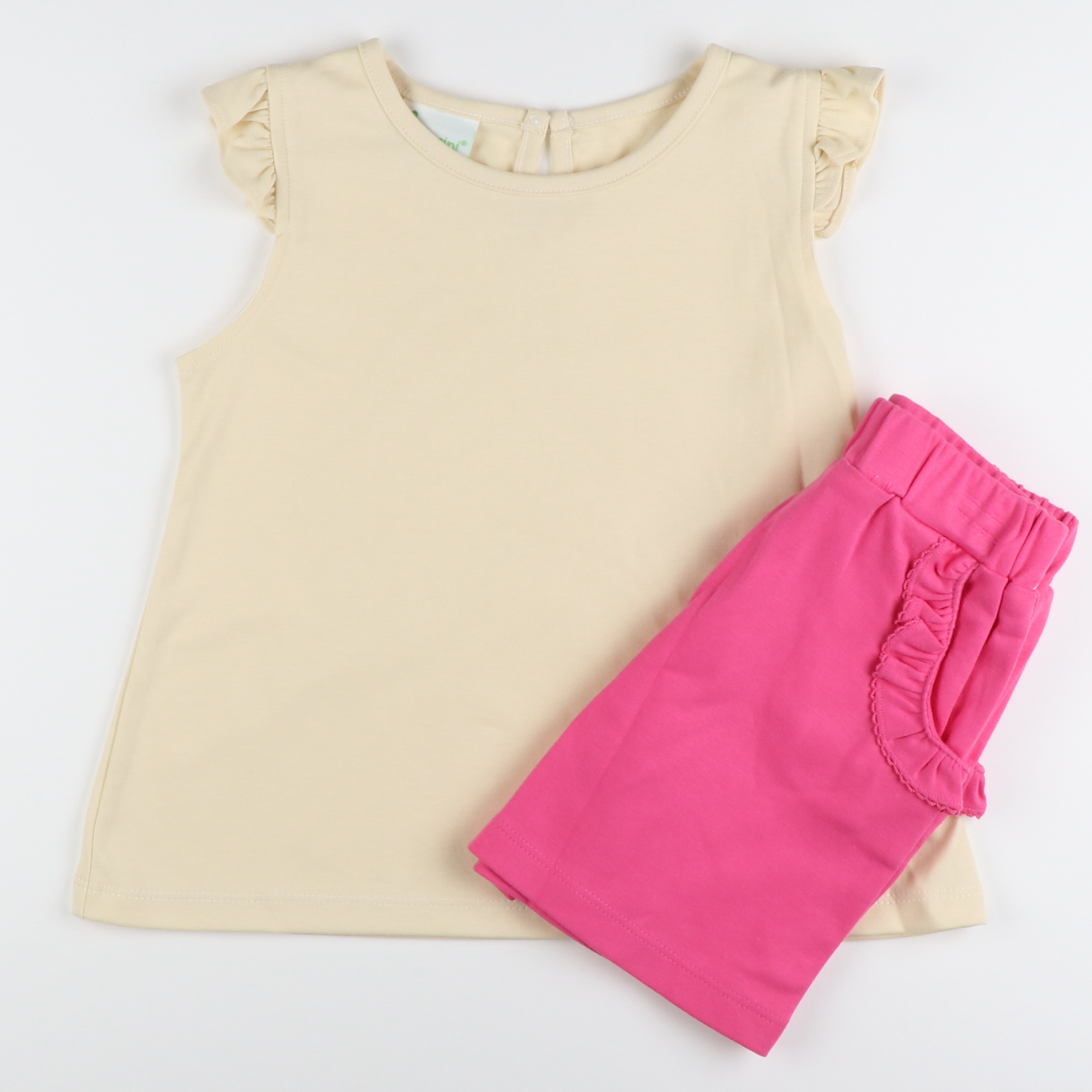 Khaki Top & Pink Short Set