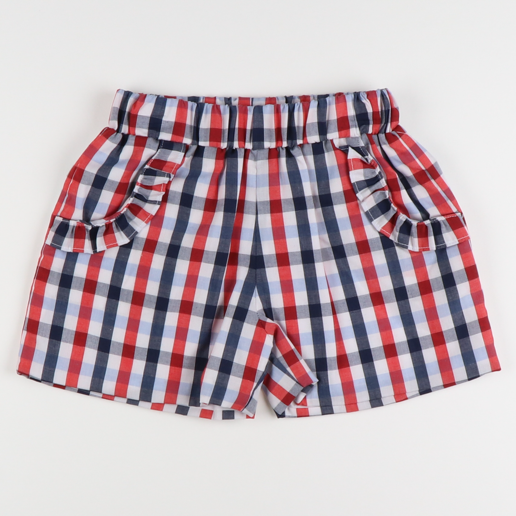 Americana Plaid Ruffle Shorts