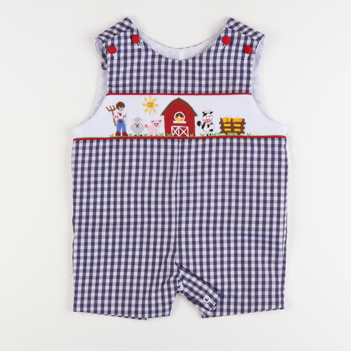 Smocked Farm Shortall - Navy Check
