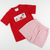 Smocked Crab Island T-Shirt & Short Set - Red Stripe Seersucker