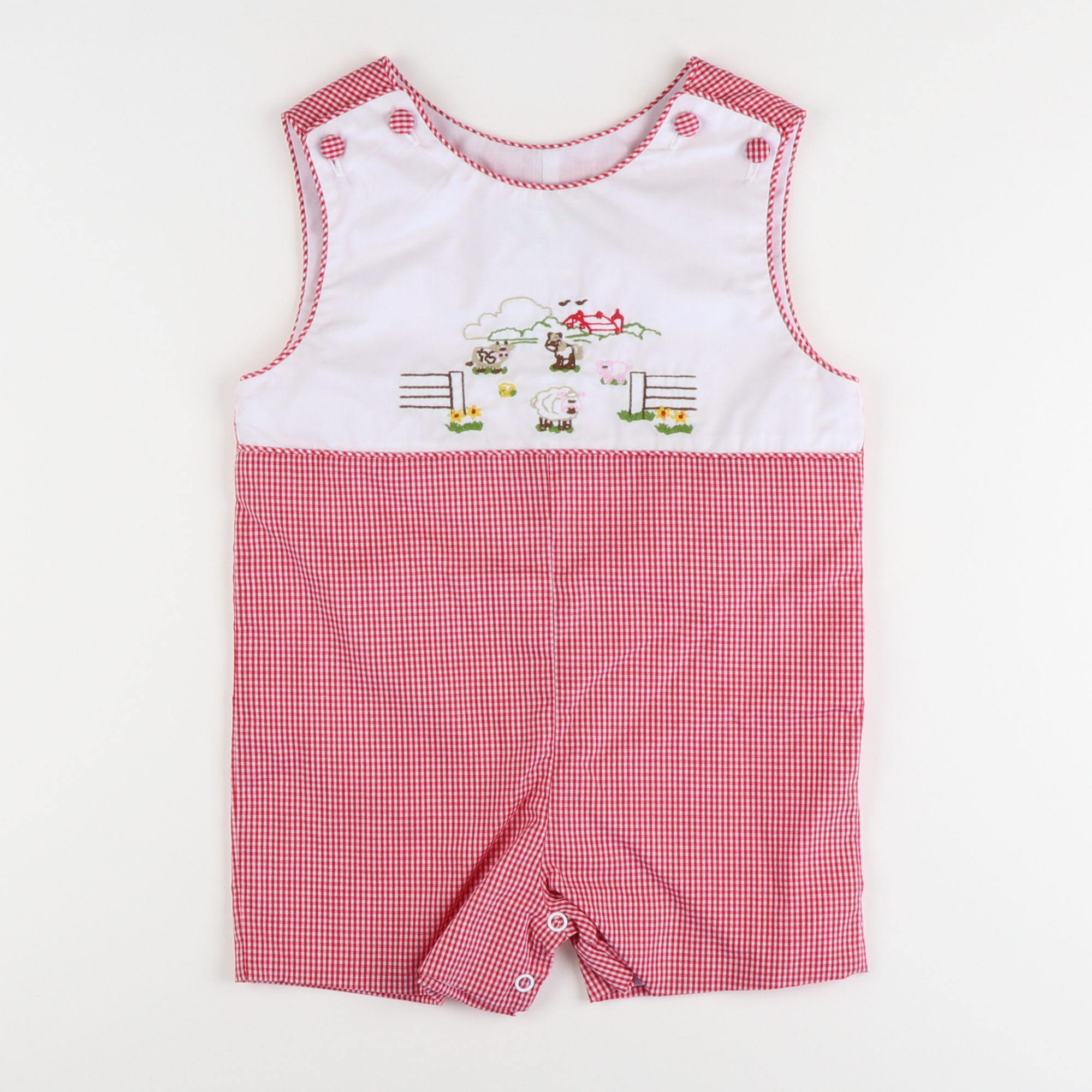 Embroidered Farm Shortall - Red Check