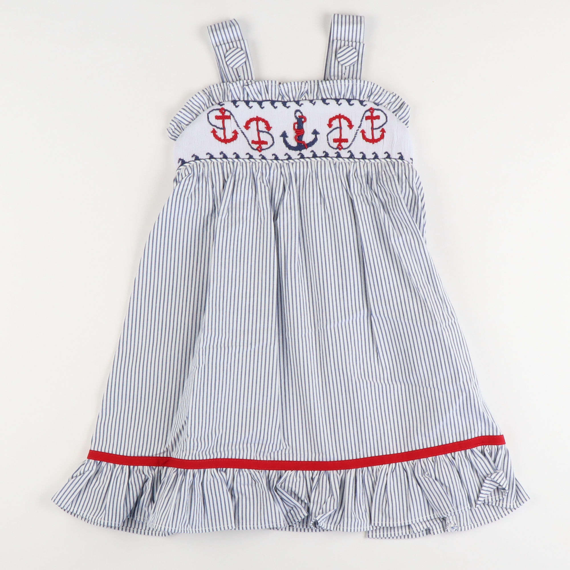 Smocked Anchor Ruffle Dress - Navy Stripe Seersucker