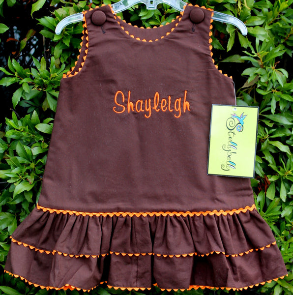 Brown Basic A-Line Dress - Girls - Stellybelly