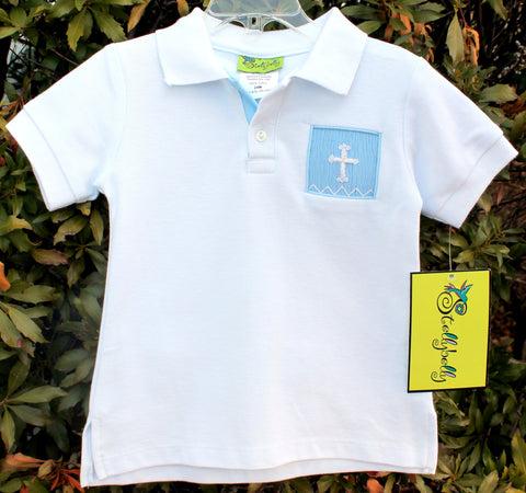 Smocked Crosses Short Sleeve Polo