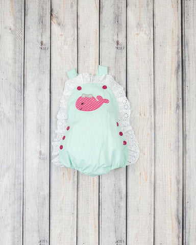 Mint Whales Applique Olivia Bubble