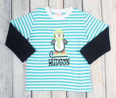 Penguin Sled Applique LS T-Shirt - Boys - Stellybelly - 2