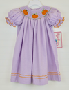 Smocked Pumpkin Lavender Micro Gingham Bishop