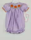 Smocked Pumpkin Light Purple Micro Gingham Bubble