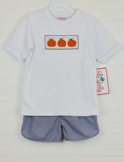 Smocked Pumpkin Shirt & Navy Gingham Short Set