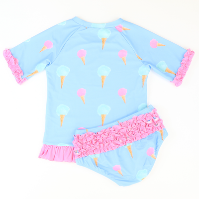 Ice Cream Short Sleeve Rash Guard Two-Piece - Stellybelly