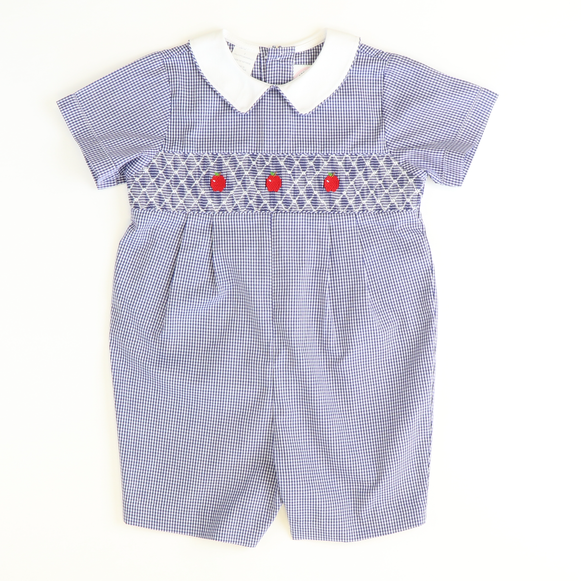 Geo Smocked Apples Collared Boy Bubble - Navy Blue Mini Check - Stellybelly