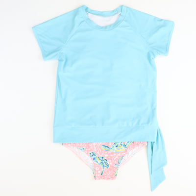 Tropical Blue Side Tie Rash Guard - Stellybelly