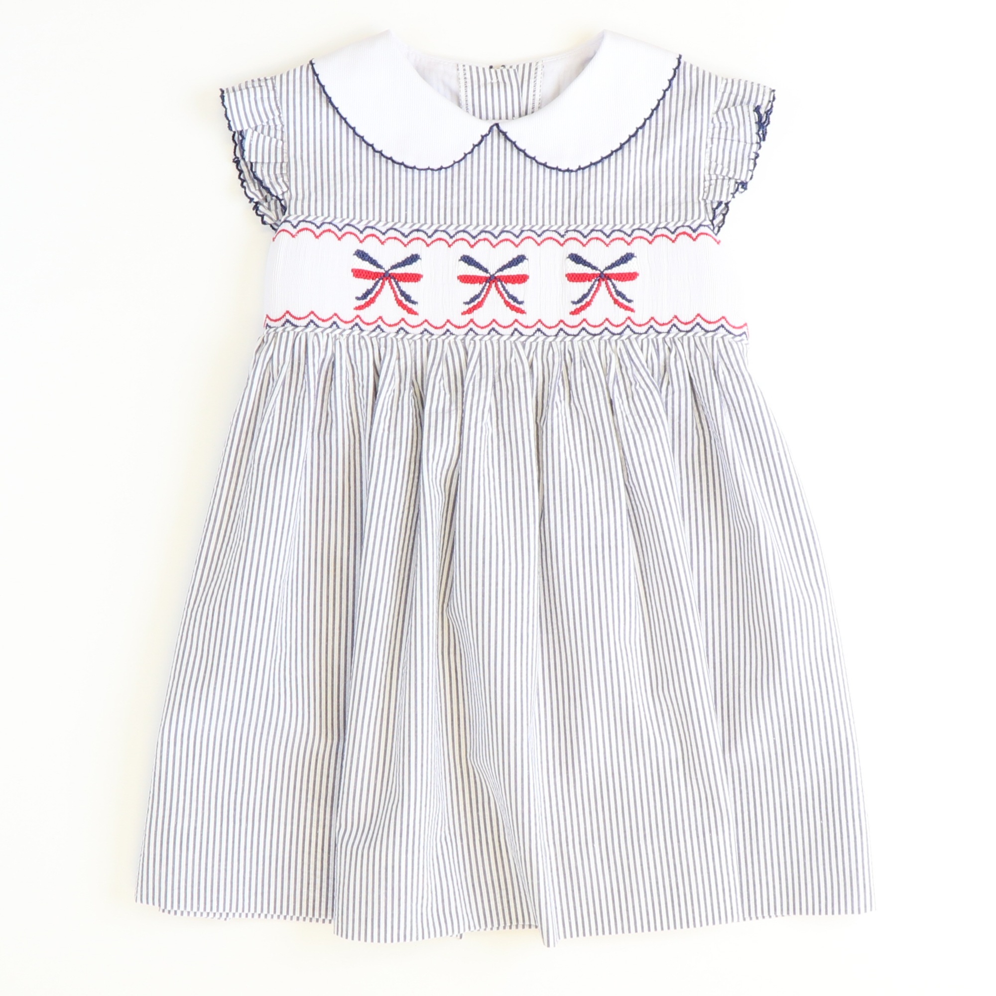 Smocked Americana Bows Collared Dress - Navy Stripe Seersucker