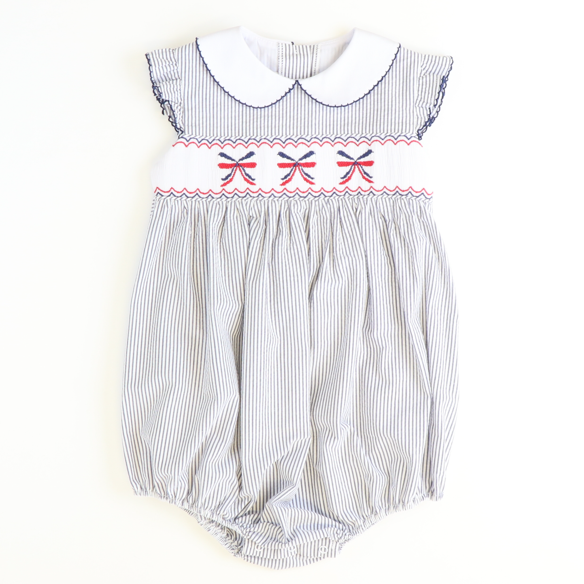 Smocked Americana Bows Girl Bubble - Navy Stripe Seersucker