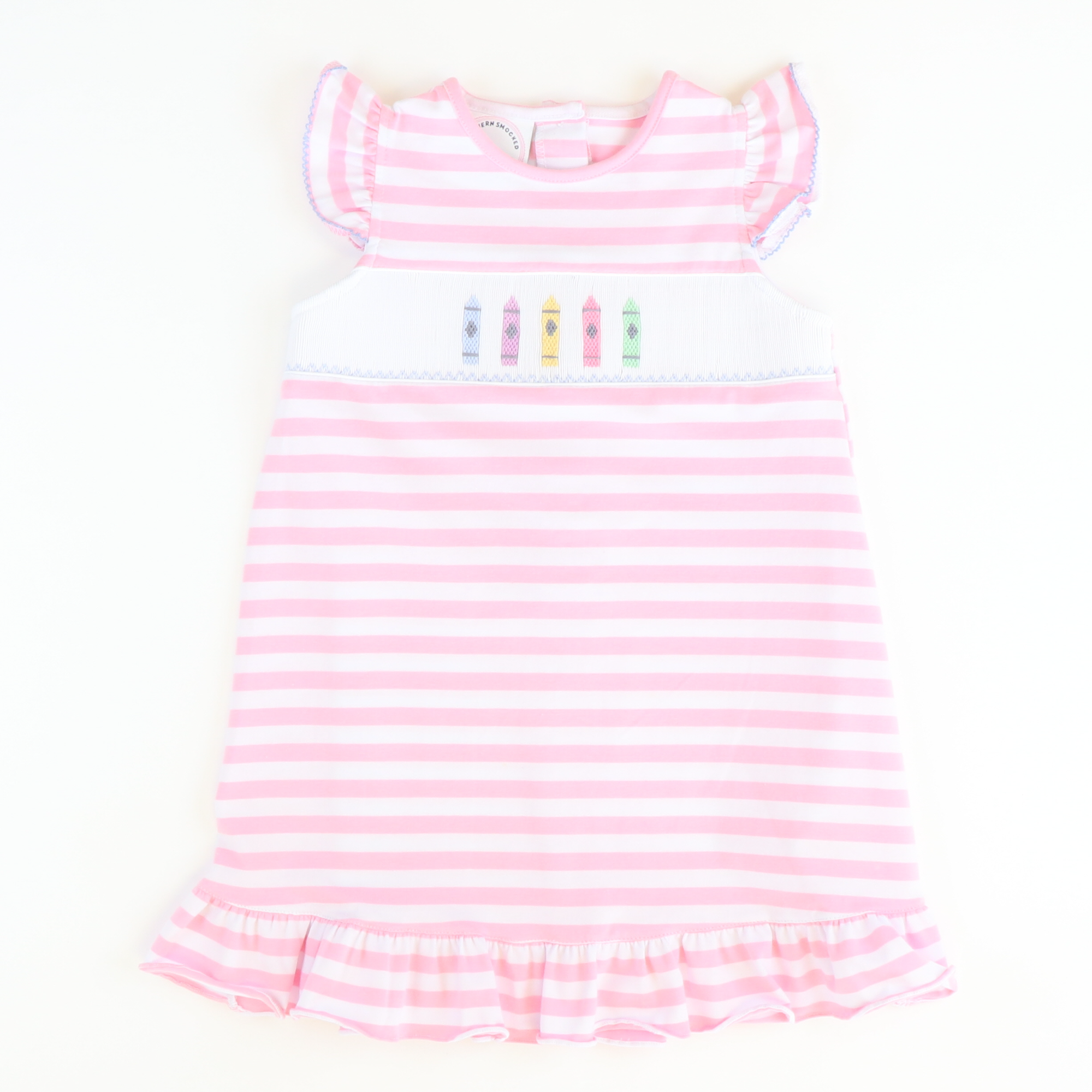 Smocked Crayons Dress - Light Pink Stripe Knit - Stellybelly