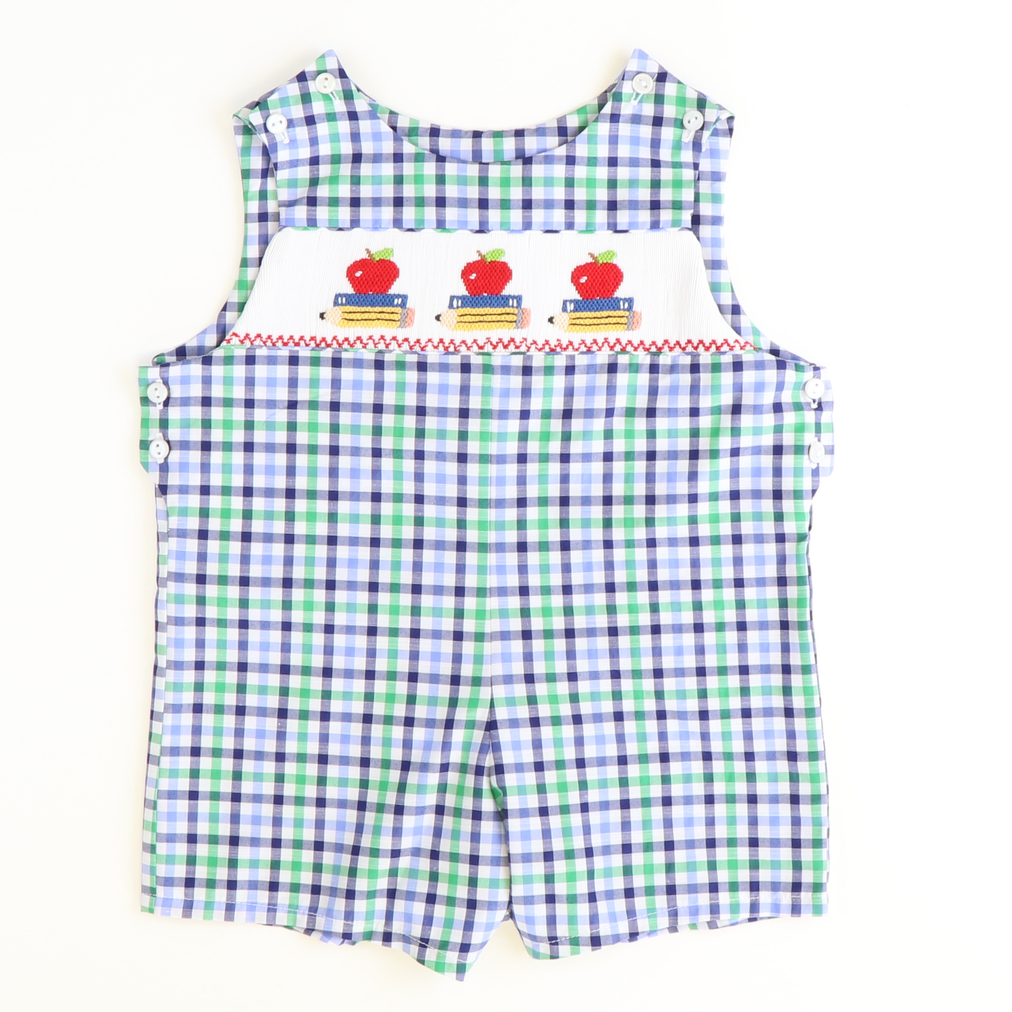 Smocked Apples & Books Shortall - Navy Blue & Green Plaid - Stellybelly