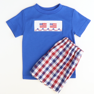 Classic Shorts - Red & Blue Wide Check - Stellybelly