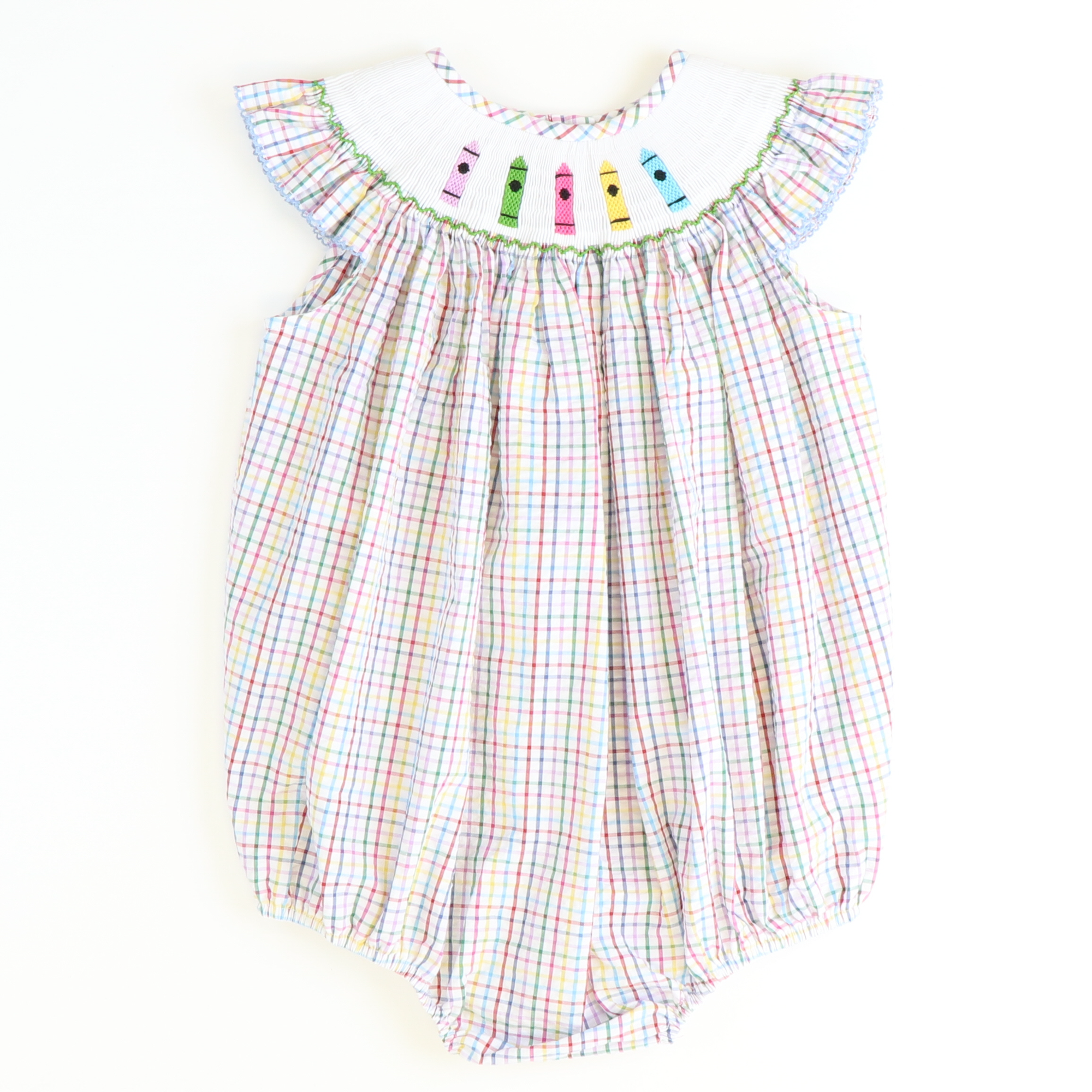 Smocked Crayons Girl Bubble - Multicolored Plaid Seersucker - Stellybelly
