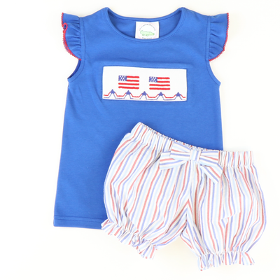 Bow Bloomer Shorties - Red & Blue Stripes Seersucker - Stellybelly