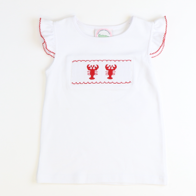 Smocked Lobsters Angel Wing Top - White Knit - Stellybelly