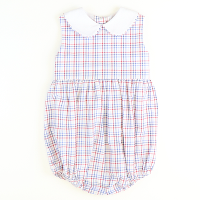 Sunday Brunch Collared Girl Bubble - Royal Blue & Red Check Seersucker - Stellybelly