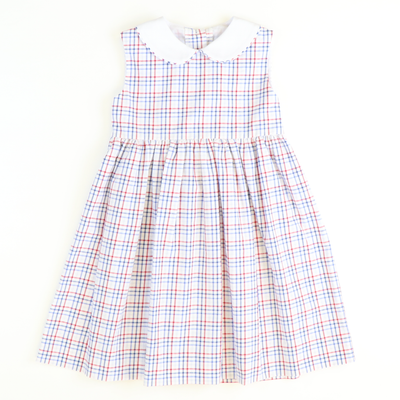 Sunday Brunch Collared Dress - Royal Blue & Red Check Seersucker - Stellybelly