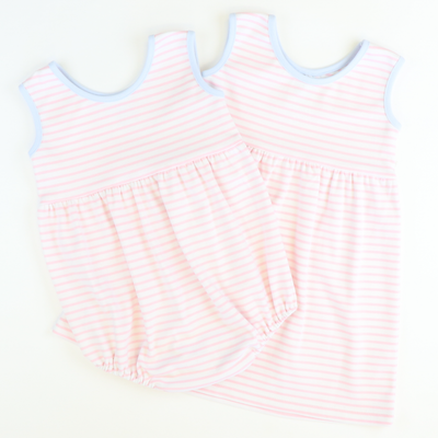 Playground Knit Girl Bubble - Light Pink Stripe - Stellybelly