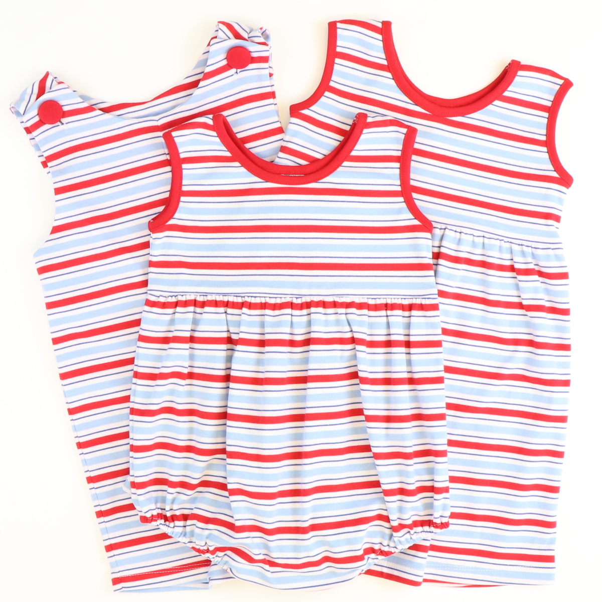 Playground Knit Shortall - Red & Party Blue Stripe - Stellybelly