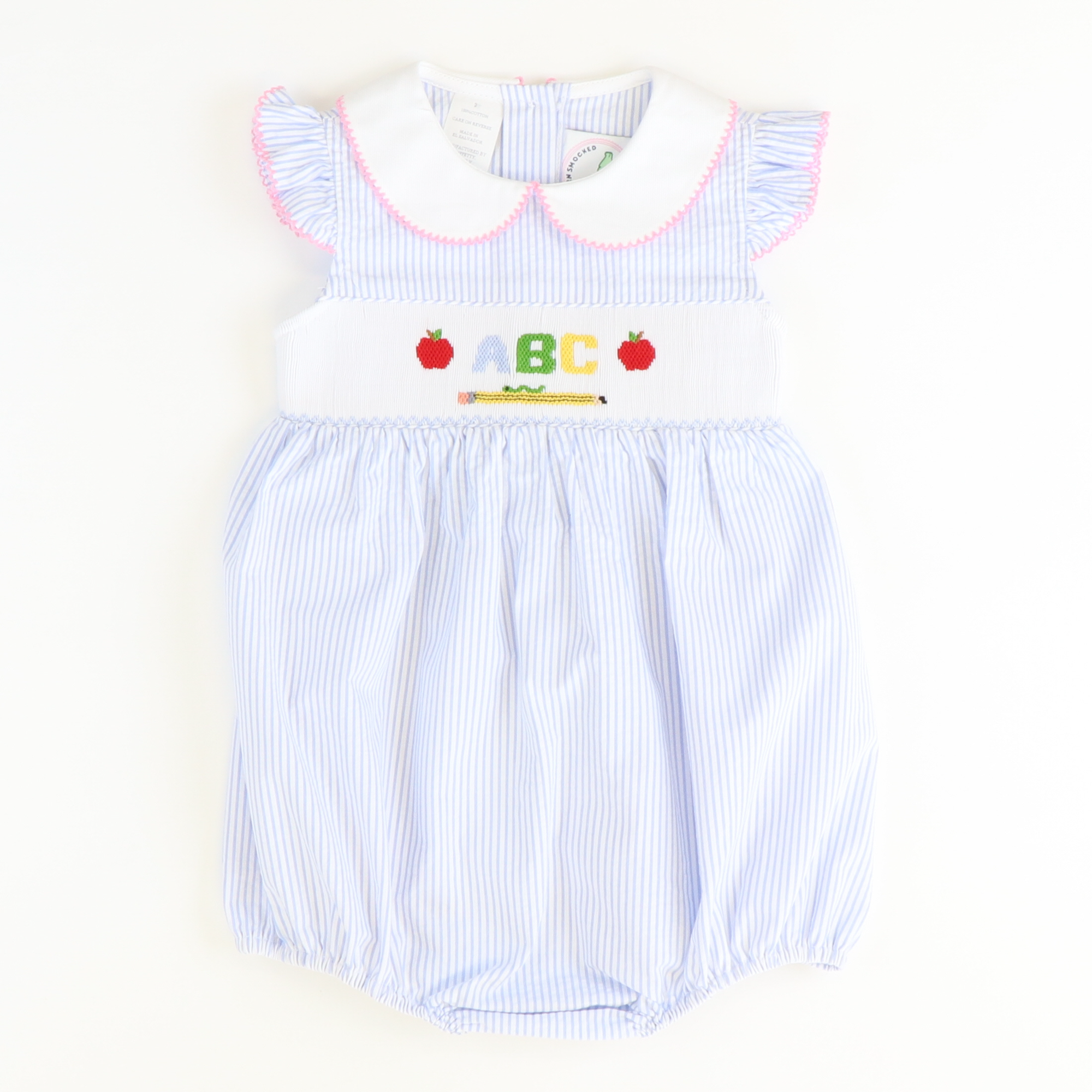 Smocked Apples & ABC Collared Girl Bubble - Light Blue Stripe Seersucker - Stellybelly