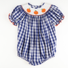 Smocked Pumpkins Navy Check Bubble