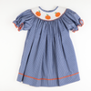 Smocked Pumpkins Blue Tiny Dot Bishop