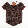 Smocked Pumpkin Brown & White Polka Dot Bubble