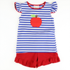 Appliqued Apple Knit Shirt & Short Set