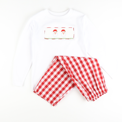 Smocked Santa Face Shirt & Pants Set