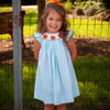 Smocked Pumpkin Aqua Gingham Bishop