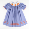 Smocked Pumpkin Blue Micro Gingham Bishop
