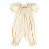 Smocked Pumpkin & Leaves Corduroy Girl Long Bubble