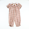 Smocked Thanksgiving Plaid Girls Long Bubble