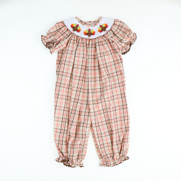 Smocked Thanksgiving Autumn Plaid Girl Long Bubble
