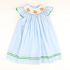 Smocked Pumpkin Blue Gingham Bishop