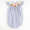 Smocked Pumpkin Blue Dot Bubble