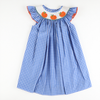 Smocked Pumpkin Blue & White Check Plaid Bishop