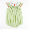 Smocked Pumpkin & Vines Light Green Stripe Bubble