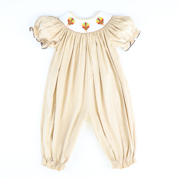 Smocked Turkeys Girl Long Bubble - Tan Corduroy